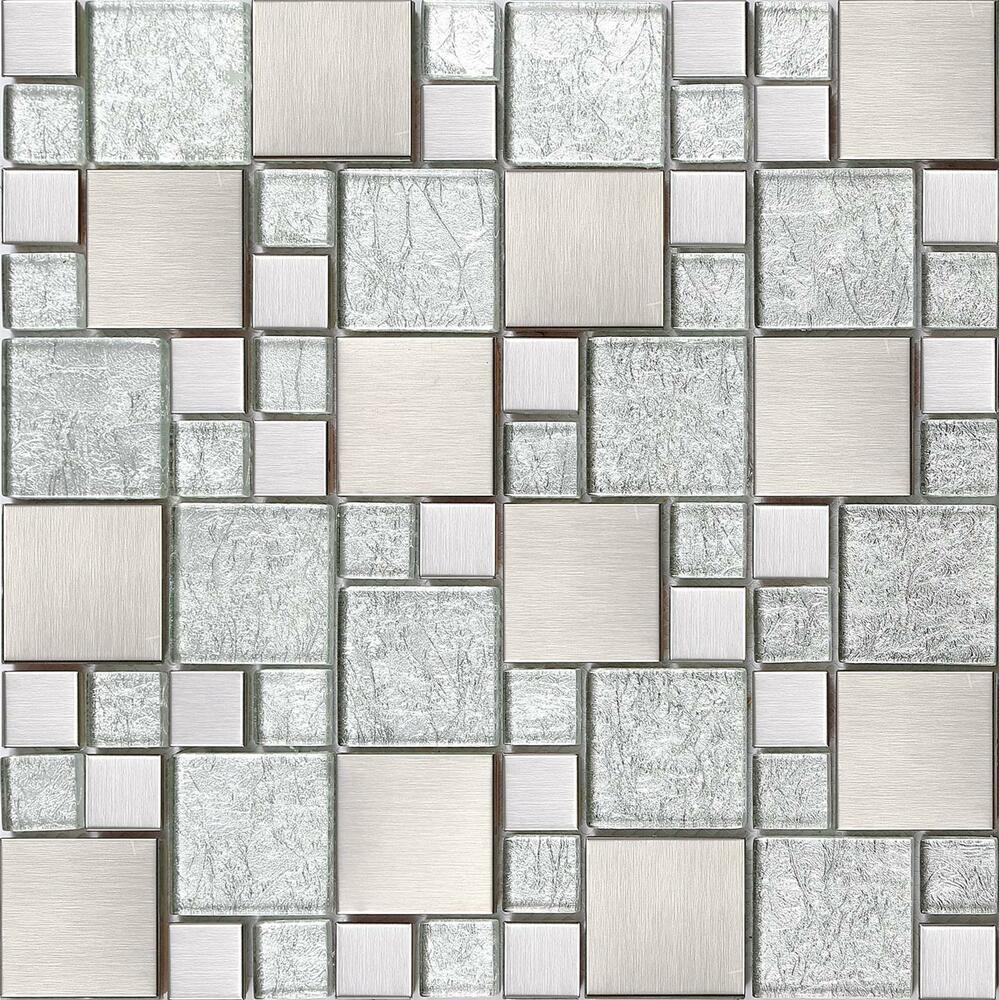 Sample Stainless Steel Metal Pattern Mosaic Tile Kitchen: Silver Brushed Modular Stainless Steel Mosaic Tiles Sheet