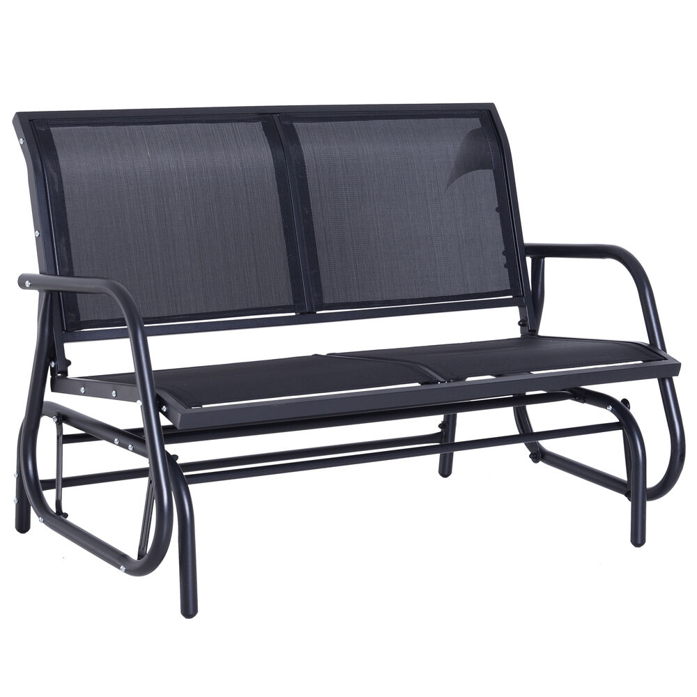 Outdoor Swing Bench: Outsunny Patio Garden Glider Bench 2-person Double Swing