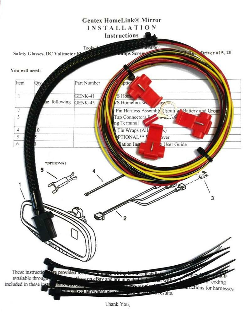 gentex gntx 313 453 homelink auto dimming rear view mirror wire rh ebay com gentex auto-dimming mirror wiring diagram gentex auto-dimming mirror wiring diagram