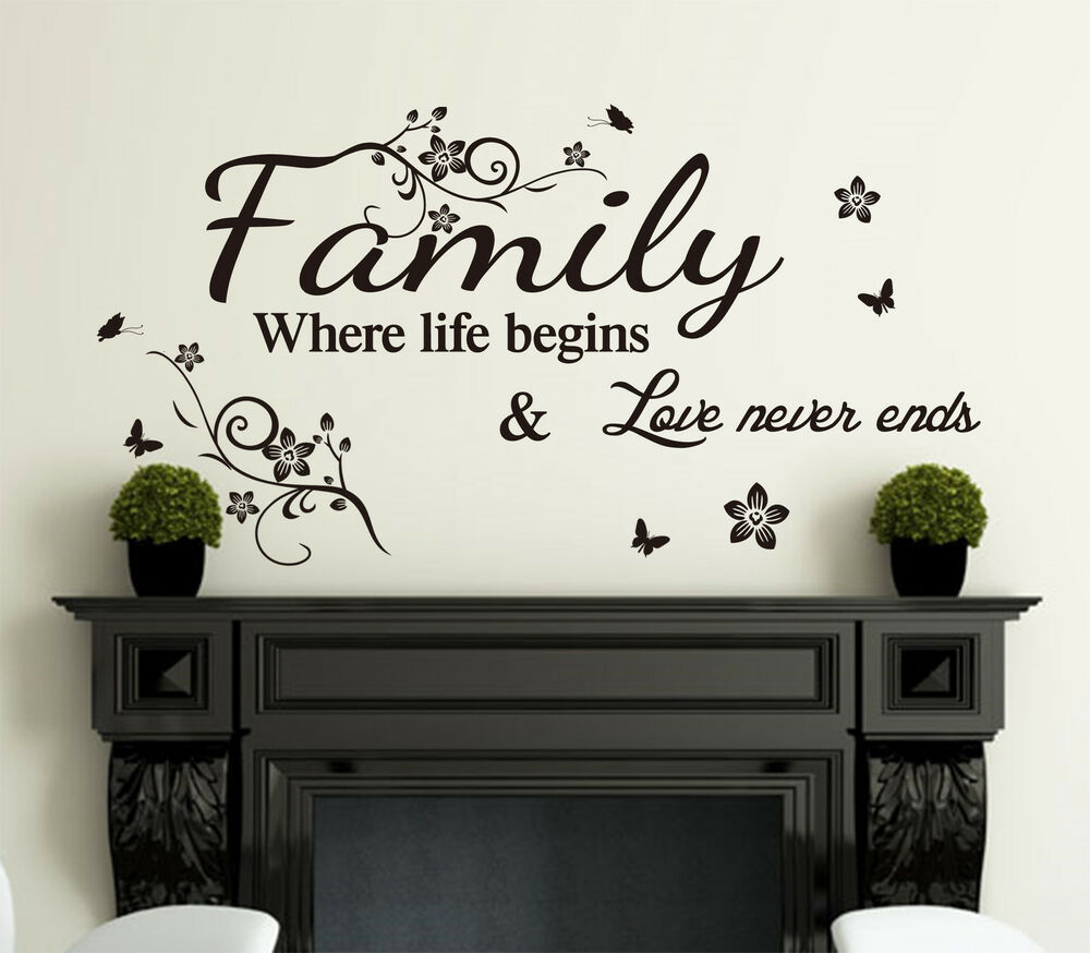 Family Inspirational Wall Art Quotes Vinyl Wall Sticker