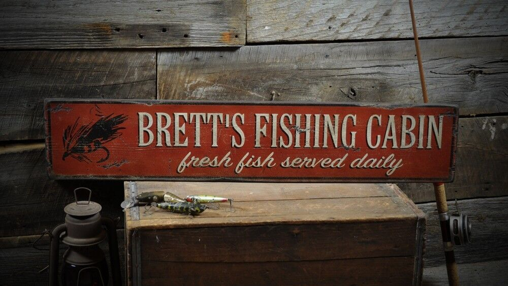 Personalized fishing cabin sign rustic hand made vintage for Vintage fishing signs