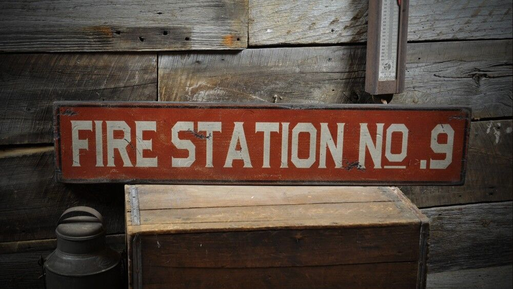 custom fire station sign primitive rustic hand made