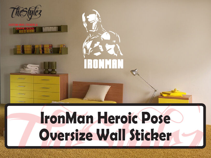 ironman heroic pose oversize wall sticker ebay damask pattern wall decal stickers large wall stickers set