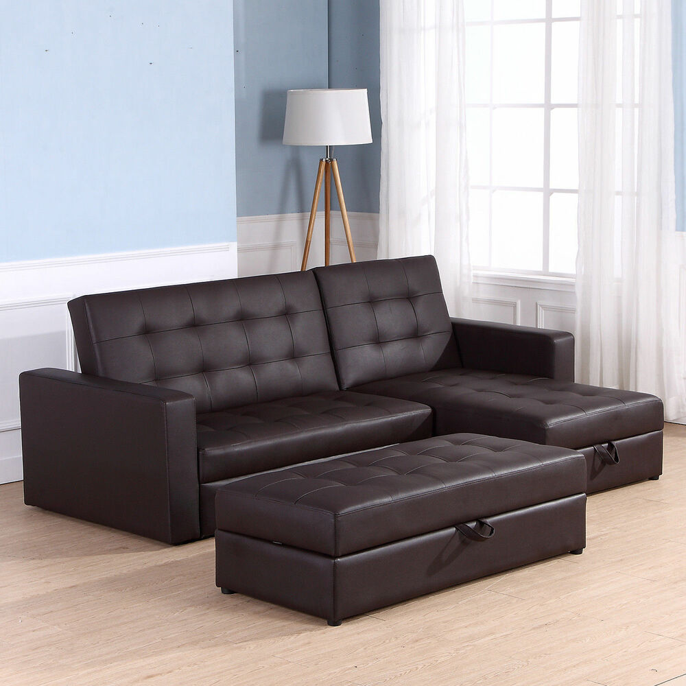 Corner Recliner Sofa Ebay: HOMCOM Sofa Bed 3 Seater Foldable Storage Sectional Living
