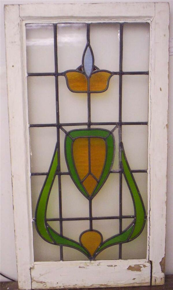Large old english leaded stained glass window floral for 20 x 36 window