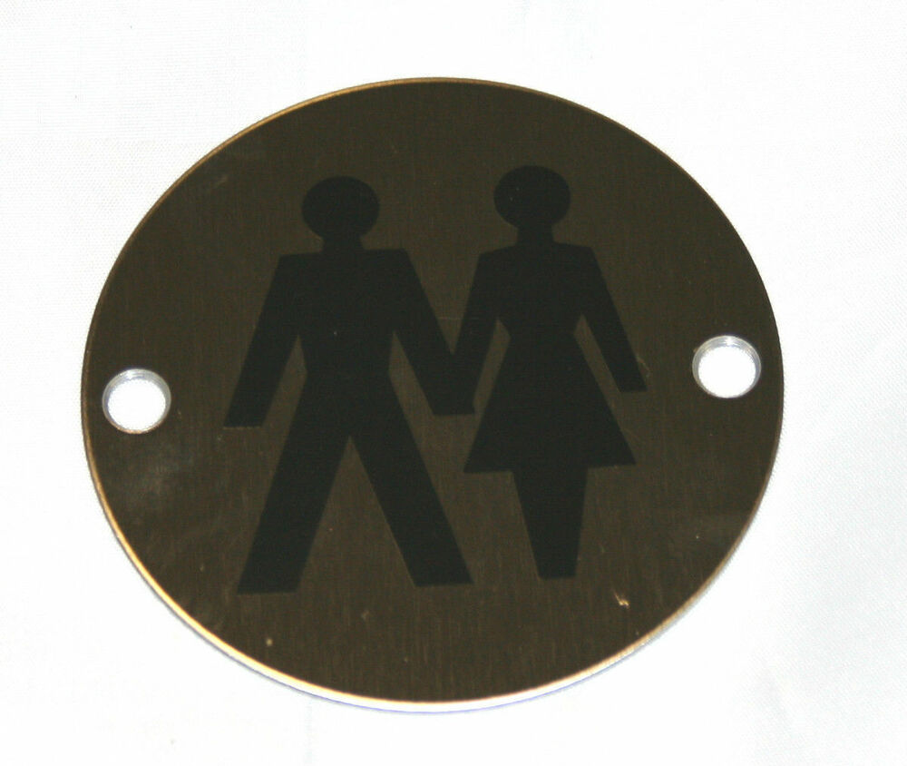 Round stainless steel toilet sign wc sign shower sign disabled sign ebay for Stainless steel bathroom signs