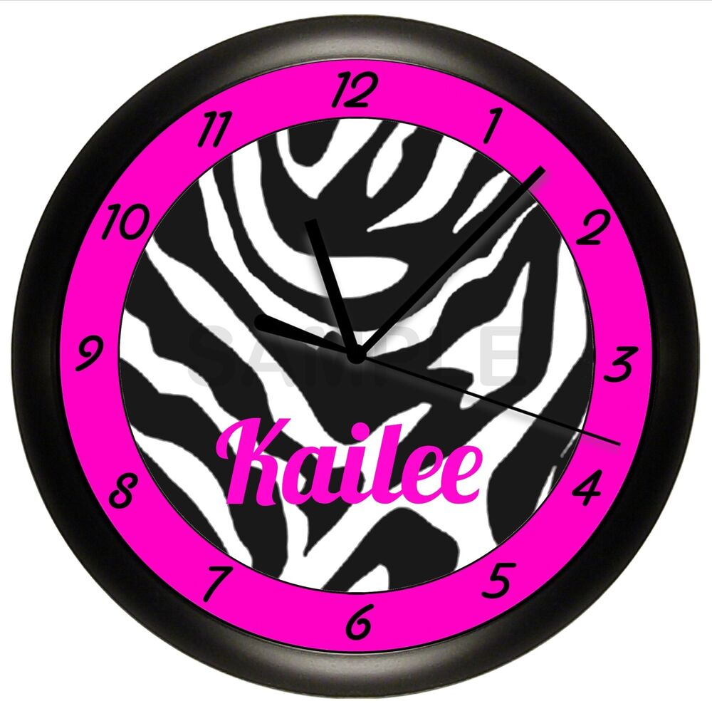 Pink zebra print wall clock hot pink and black for Hot pink and black wall decor