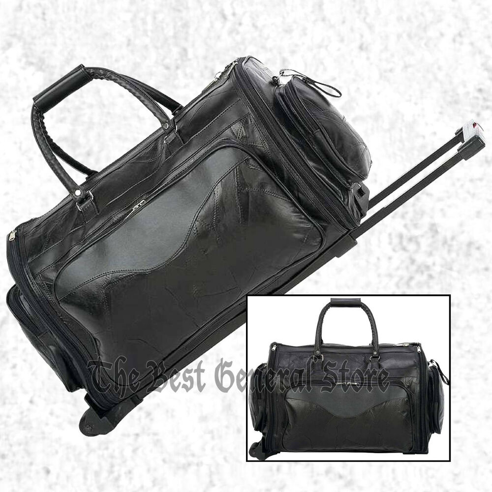 black leather 21 folding trolley tote gym bag rolling duffle with wheels travel ebay. Black Bedroom Furniture Sets. Home Design Ideas