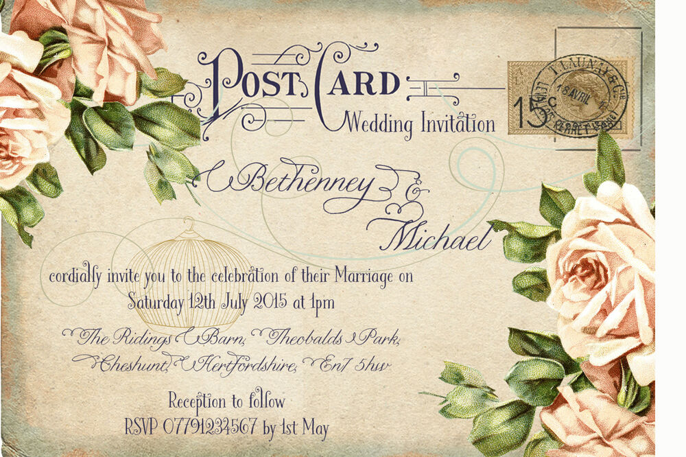 postcard wedding invitations personalised vintage postcard birdcage wedding 6731