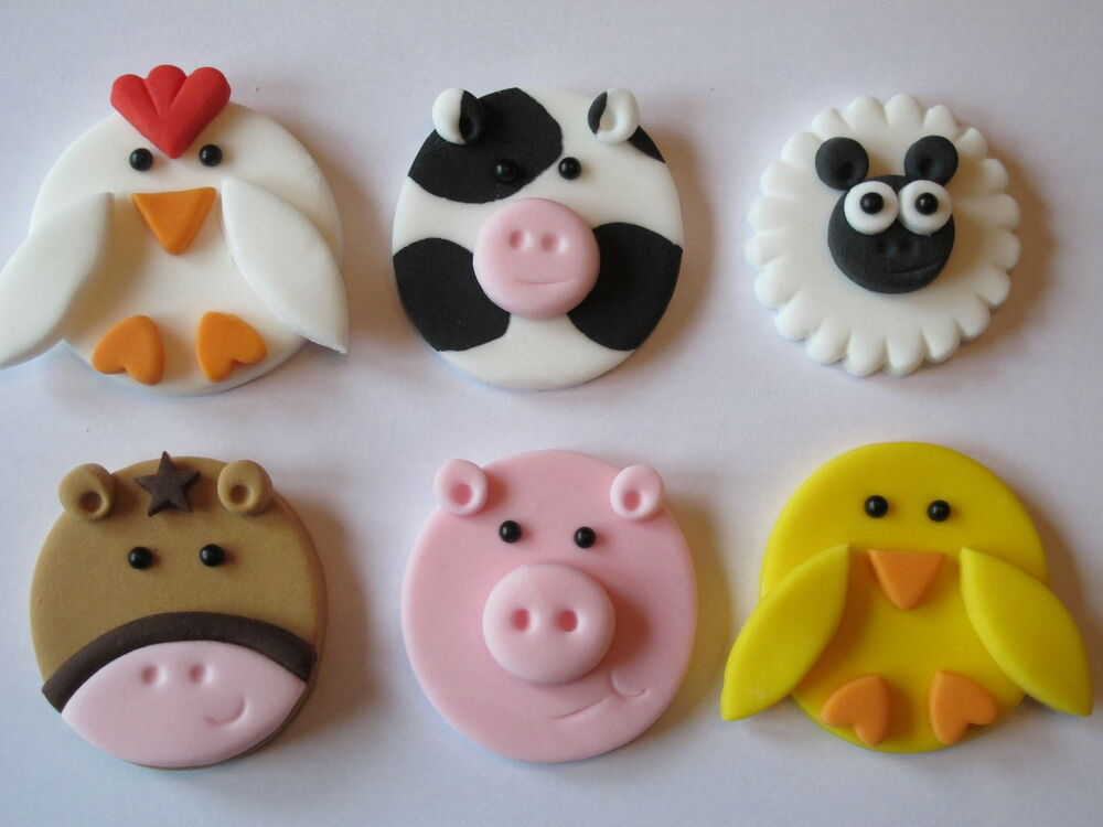 6 large fondant 2d handmade farm animals cupcake toppers for Animal cake decoration