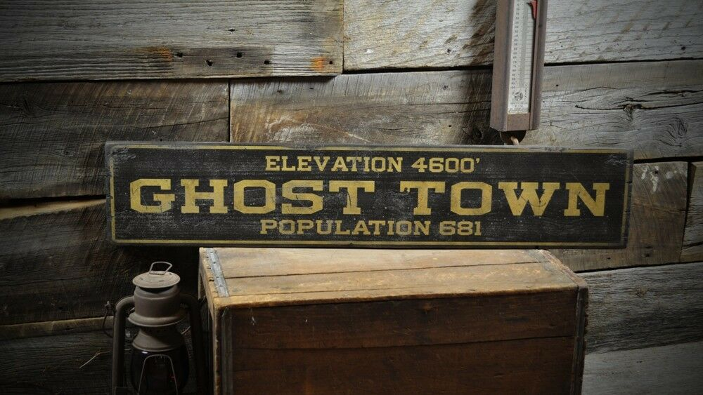 Wood Elevation Uk : Custom ghost town population sign rustic hand made