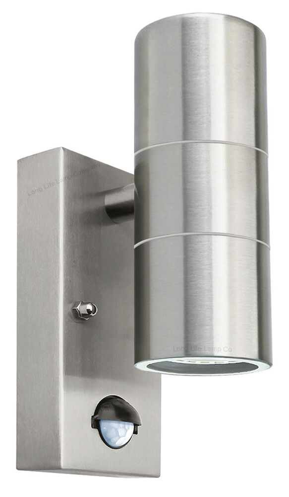 Stainless Steel Outside Wall Lights With Pir : PIR Stainless Steel Double Outdoor Wall Light With Movement Sensor IP44 eBay