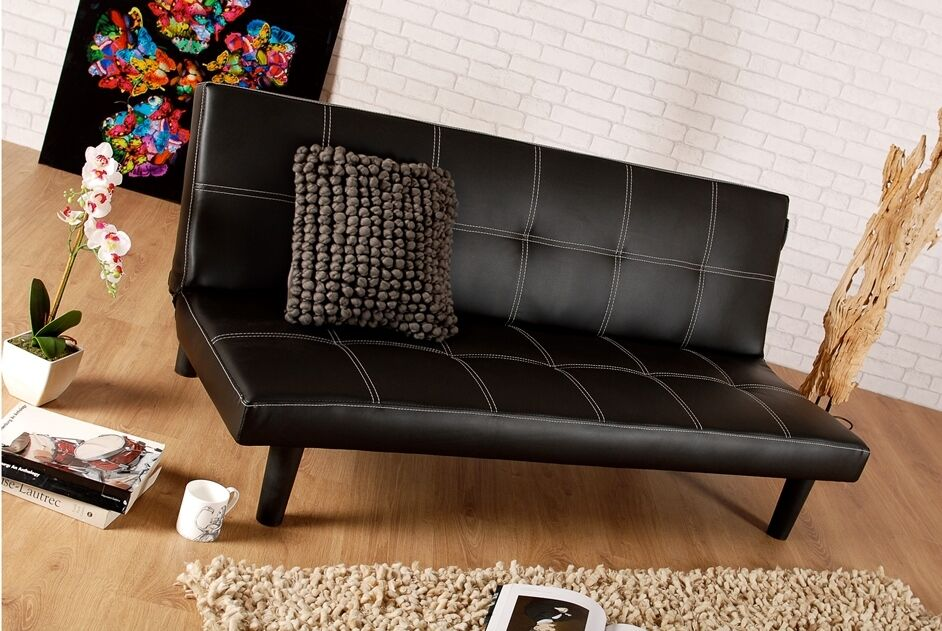 Single faux leather sofa bed in black spencer sofabed for Cheap single divan bed and mattress