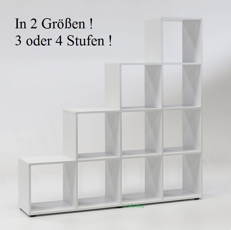 stufenregal b cherregal wei 2 gr en 3 oder 4 stufen raumteiler neu ebay. Black Bedroom Furniture Sets. Home Design Ideas