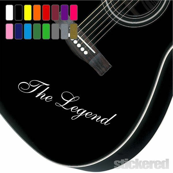 2 x personalised vinyl name guitar stickers any name text for bass acoustic ebay. Black Bedroom Furniture Sets. Home Design Ideas