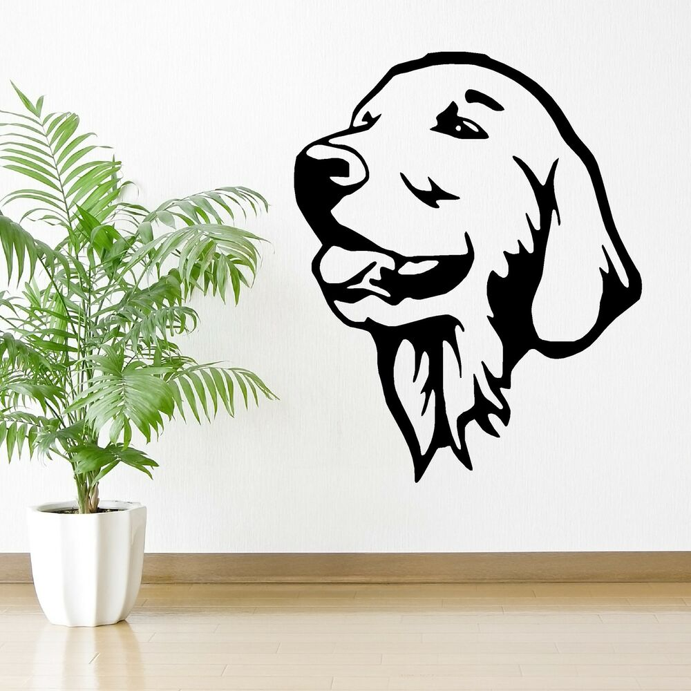 golden retriever dog wall art vinyl room sticker decal i love dogs paw print wall stickers heart removable diy