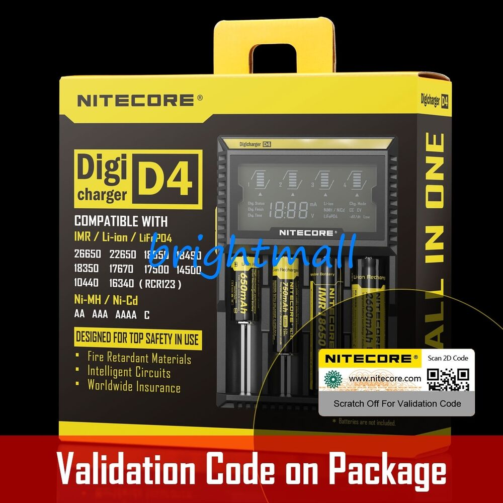 New 2016 Version Nitecore D4 Digi Charger For 18650 14500 18350 Li How To Make A Nimh Nicd Battery Circuit Homemade Ion Ni Mh Ebay