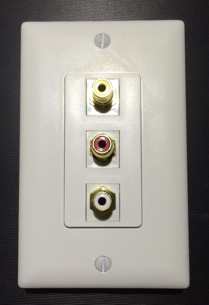 Single Gang White Decora Wall Plate With Audio Video Rca