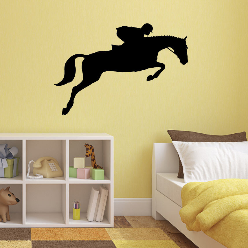 Show jumping horse wall sticker equestrian sports for Sports decals for kids rooms