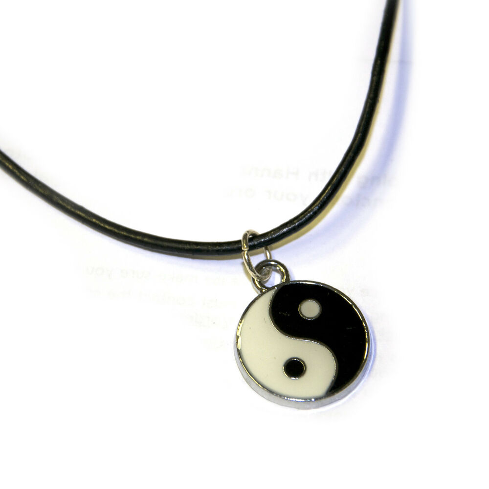 yin yang charm on a black cord choker necklace grunge boho