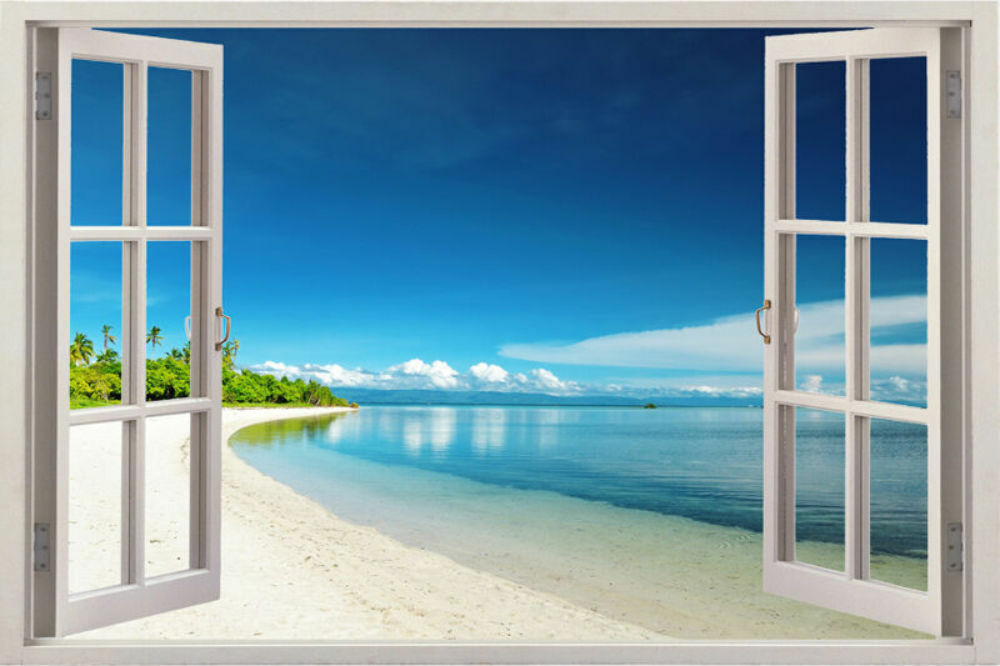 3d Window Scape Instant View Graphic Art Mural Tropical