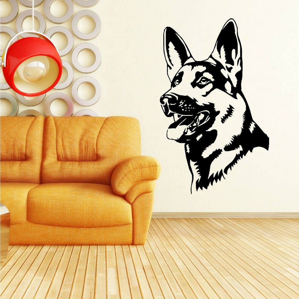 german shepherd alsation dog vinyl wall art sticker decal. Black Bedroom Furniture Sets. Home Design Ideas