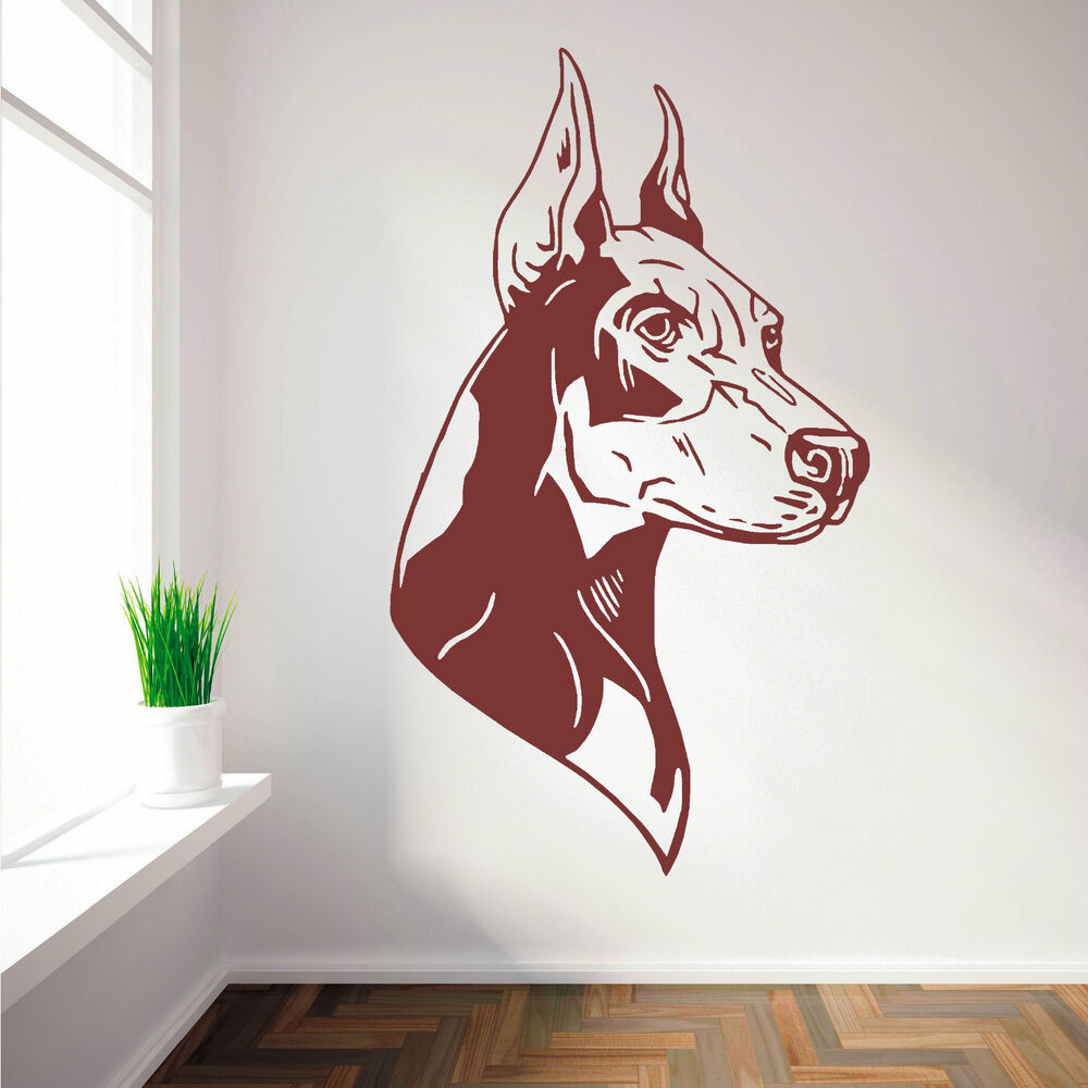 doberman pinscher dog vinyl wall art sticker decal ebay. Black Bedroom Furniture Sets. Home Design Ideas