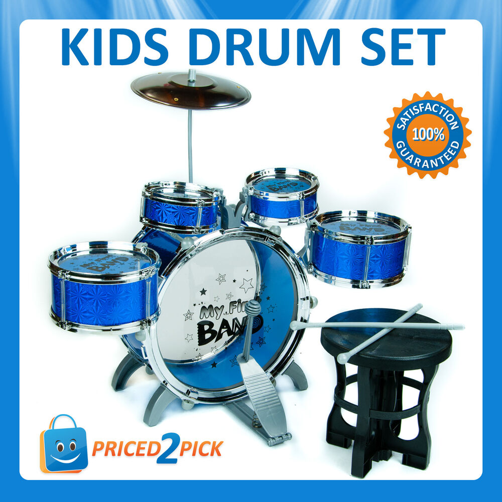Kids Junior Drum Drummers Kit Set With Stool Musical Toy