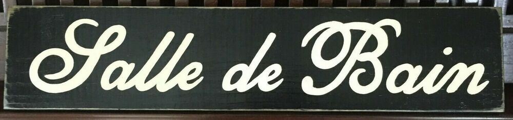 Salle De Bain French Le Restroom Sign Bathroom Paris Apartment Chic Shabby Wood Ebay