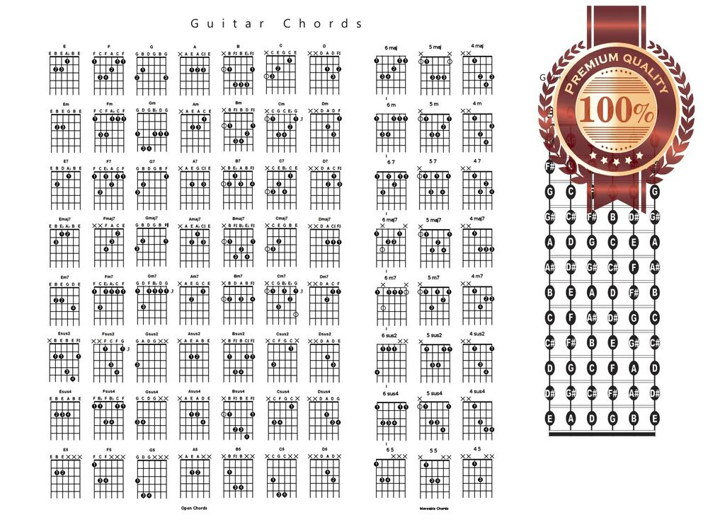 New Guitar Chords Chord Chart Notes Guide Help Learn Study Print