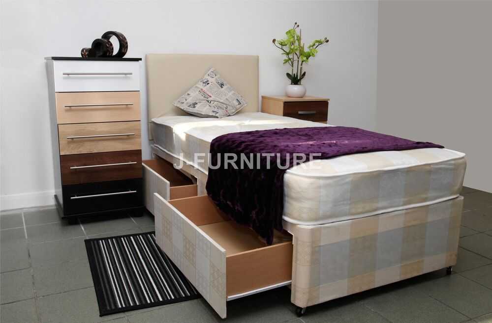 2ft6 3ft single divan bed with 20cm mattress 3 colours for Single divan bed with storage drawers