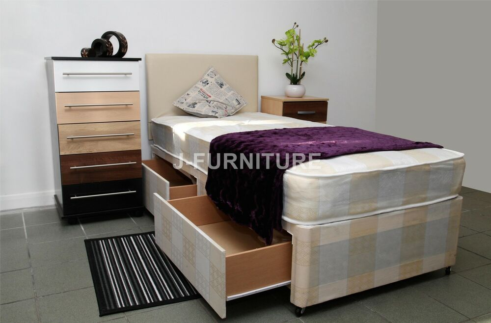 2ft6 3ft single divan bed with 20cm mattress 3 colours for Single divan with drawers and headboard
