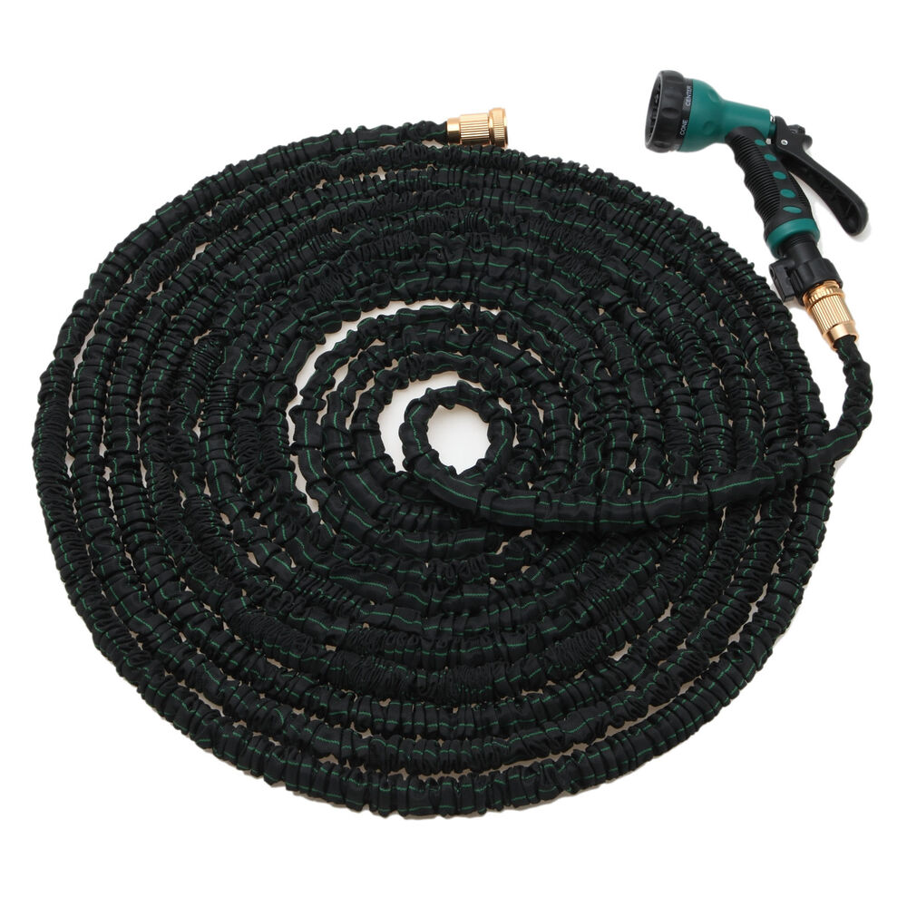 Natural latex 100 feet expandable flexible garden water hose w spray nozzle ebay Expandable garden hose 100 ft