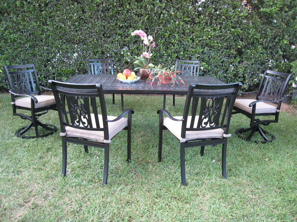Cast aluminum outdoor patio furniture dining set a with 2 for Lawn patio furniture