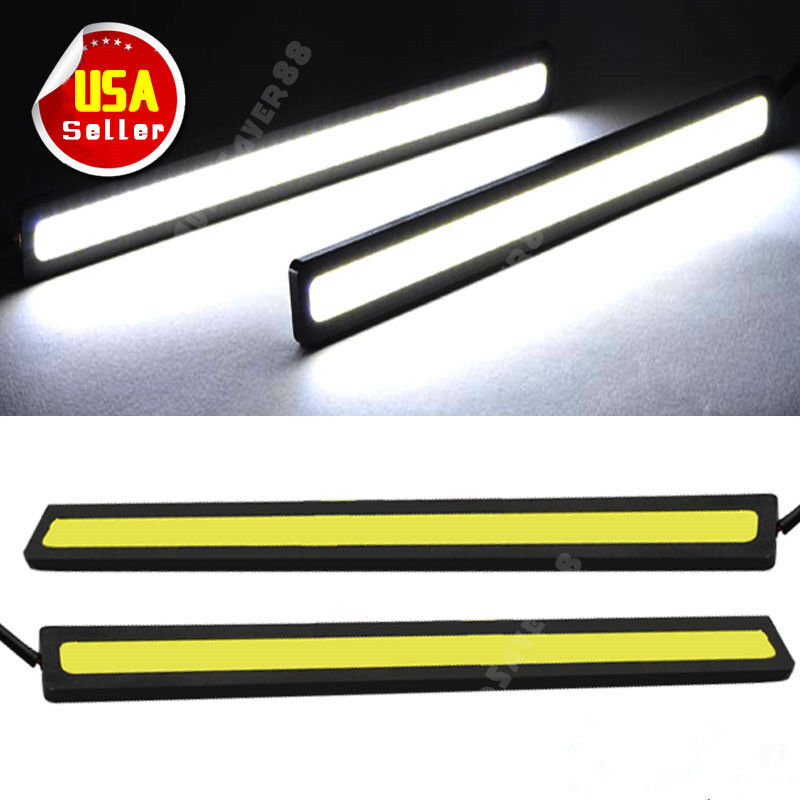 2x super bright white car cob led lights drl fog driving lamp. Black Bedroom Furniture Sets. Home Design Ideas