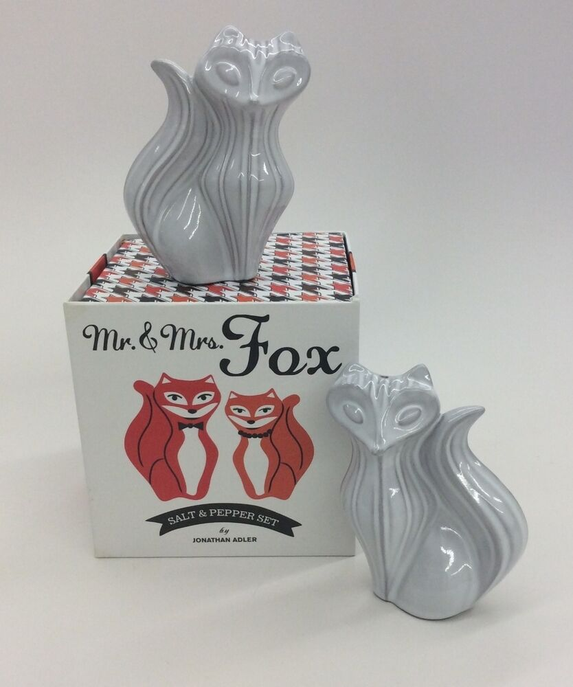 Jonathan adler mr mrs fox salt pepper shakers ebay - Jonathan adler salt and pepper ...