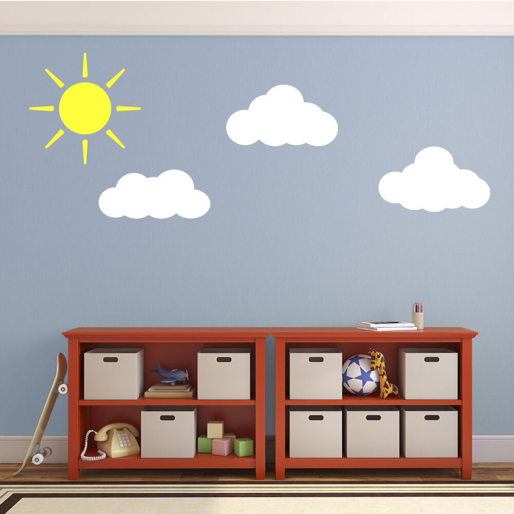 Sun and clouds wall decals stickers for child 39 s nursery for Childrens wall mural stickers