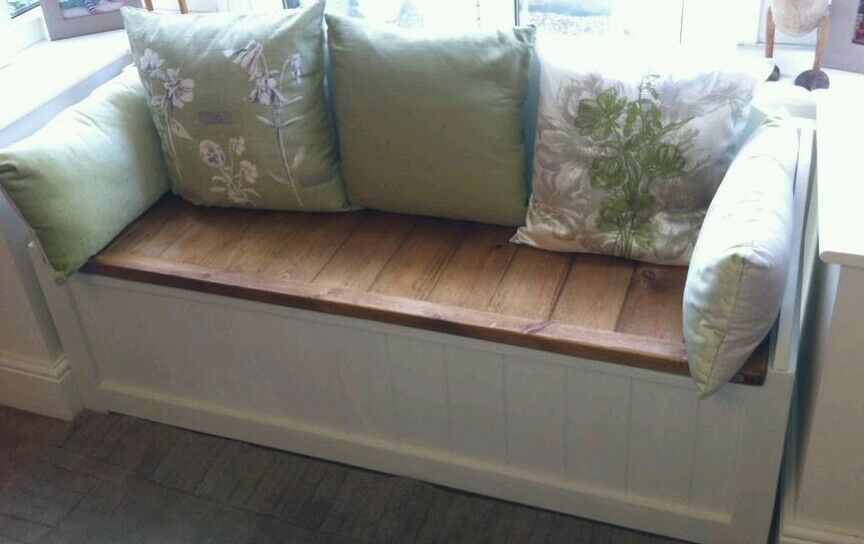 HANDMADE SOLID WOODEN PINE SEATED WINDOW BOX / TOY BOX / OTTOMAN ...