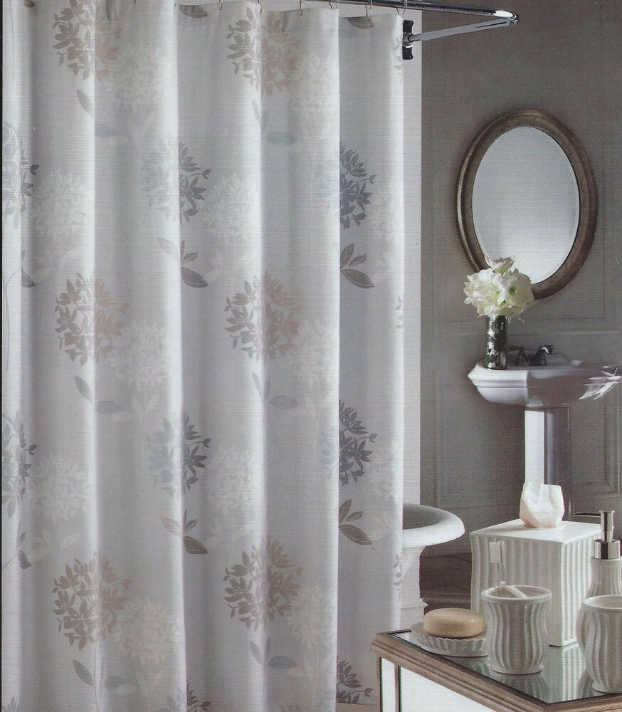 j queen caroline floral lt grey tan green white shower curtain ebay. Black Bedroom Furniture Sets. Home Design Ideas