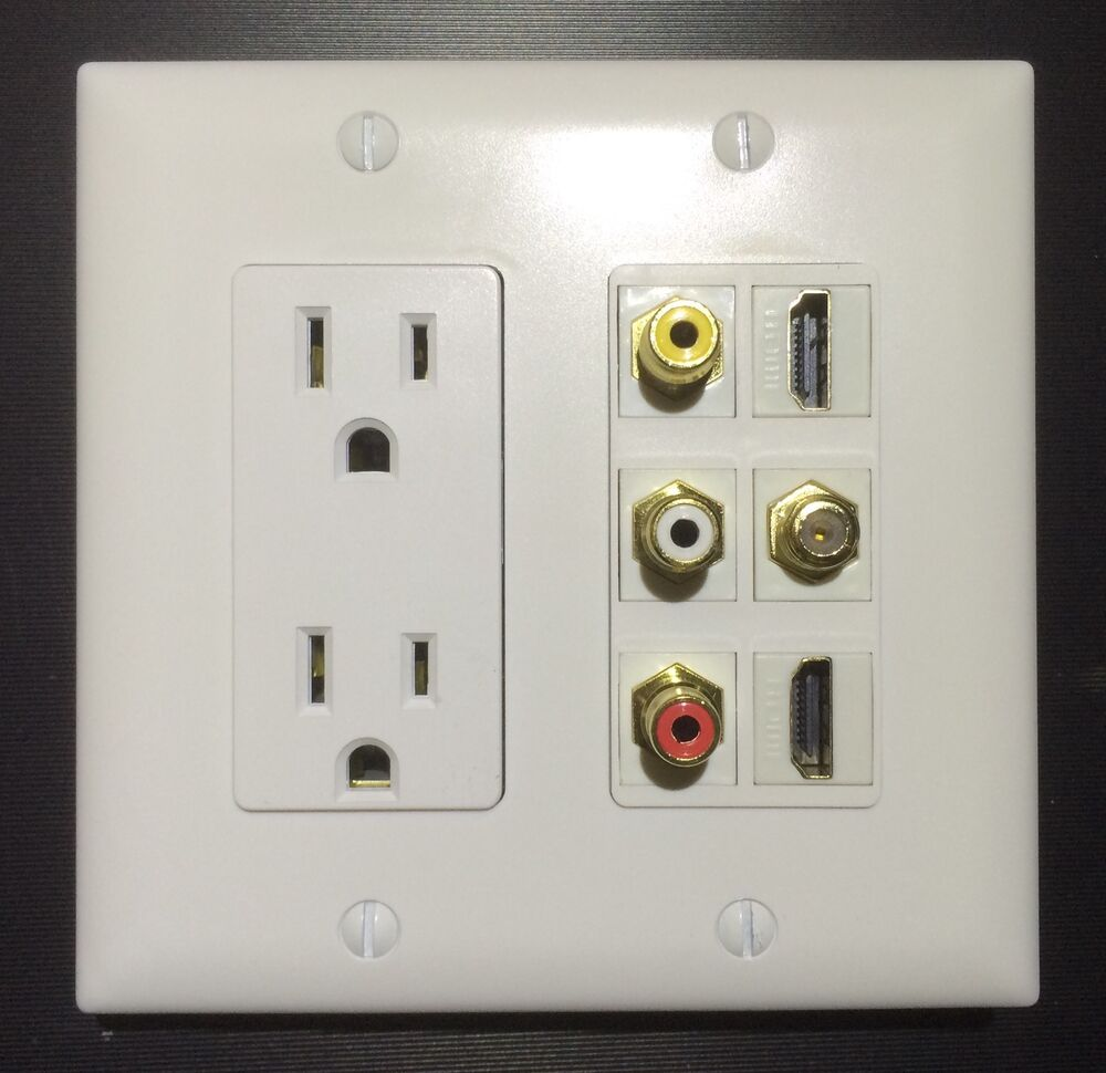 Hdtv Wall Plate Duplex Power Outlet 3x Rca A V 2x Hdmi 1x