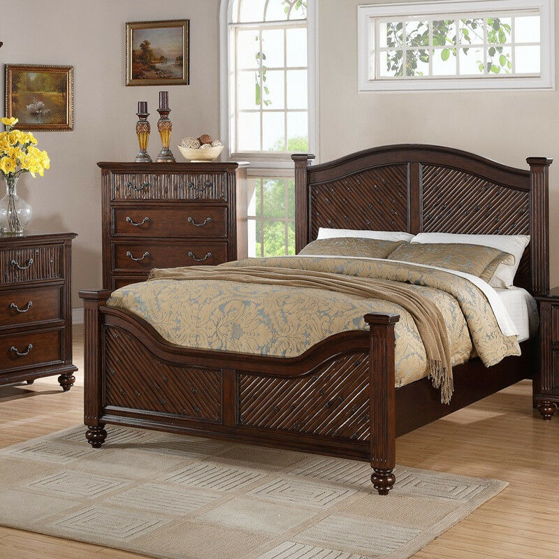 Tropical design antique bedroom furniture queen king classic bed frame f9198 ebay for Tropical style bedroom furniture