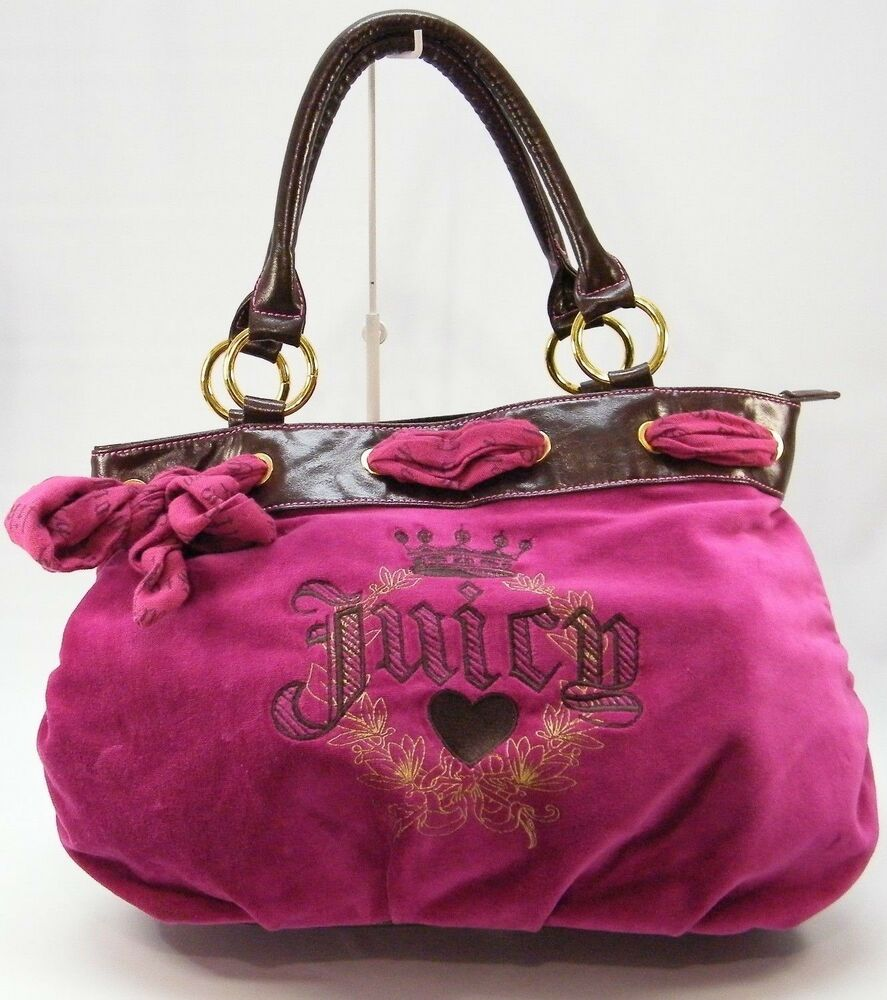 juicy couture fuchsia pink purple velour pleated satchel tote handbag purse bag ebay. Black Bedroom Furniture Sets. Home Design Ideas