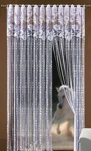 String Curtain Panel White Net Window Door Fly Screen