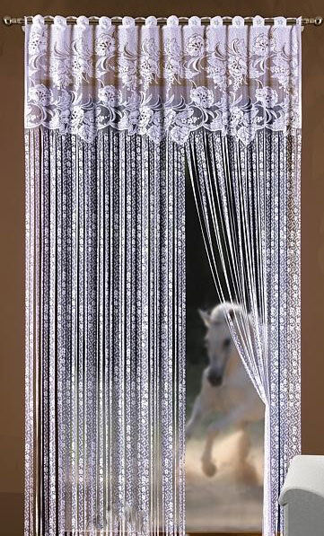 String Curtain Fringe Panel Decoration Room Divider 20: String Curtain Panel White Net Window Door Fly Screen