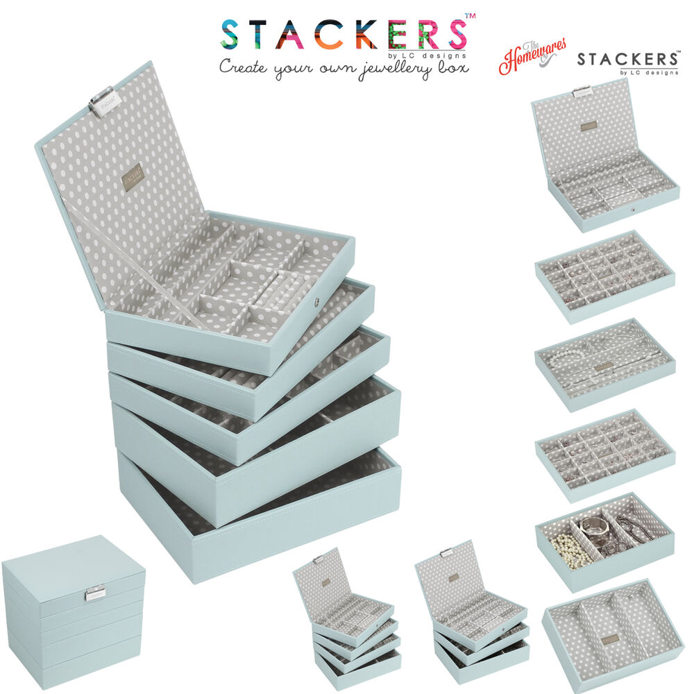 Stackers classic size in duck egg blue with grey polka dot for Design your own egg boxes