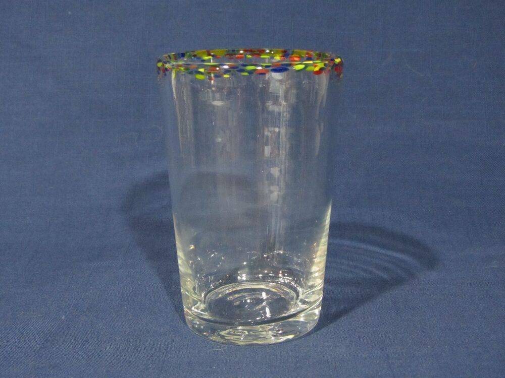 Mexican Hand Blown Confetti Rimmed Colorful Pint Glass
