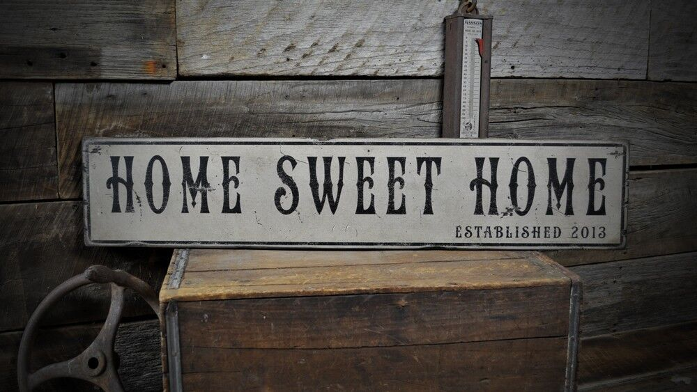 Home Sweet Home Est. Date Sign - Rustic Hand Made Vintage ...
