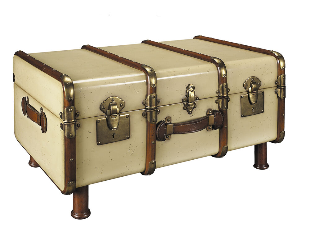 Stateroom Travel Steamer Trunk Coffee Table Antiqued Ivory Authentic ...