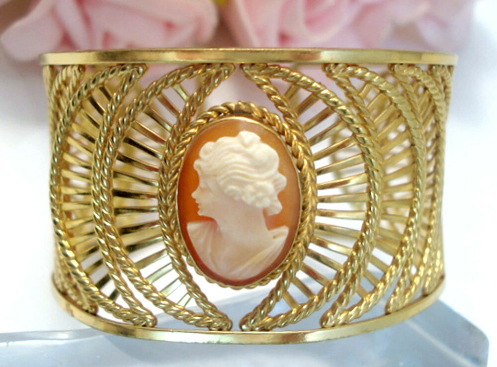 Vintage costume fine jewelry van dell 12 kt gf cameo cuff for What is fine jewelry
