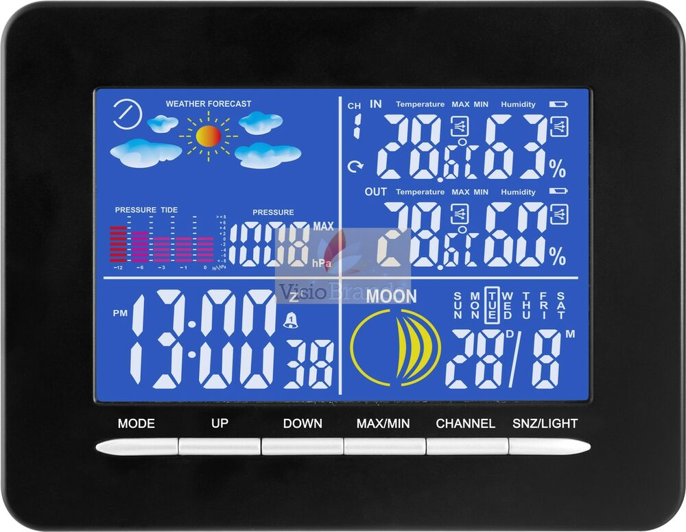 DESIGN FUNK WETTERSTATION FARBDISPLAY THERMOMETER INNEN ...